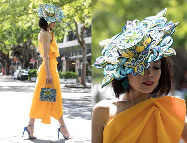 elis crewes canary yellow dress taboo millinery hat
