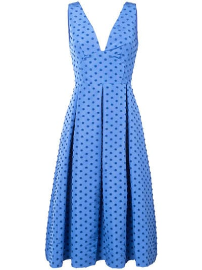 French blue spotted dress by brand Lela Rose