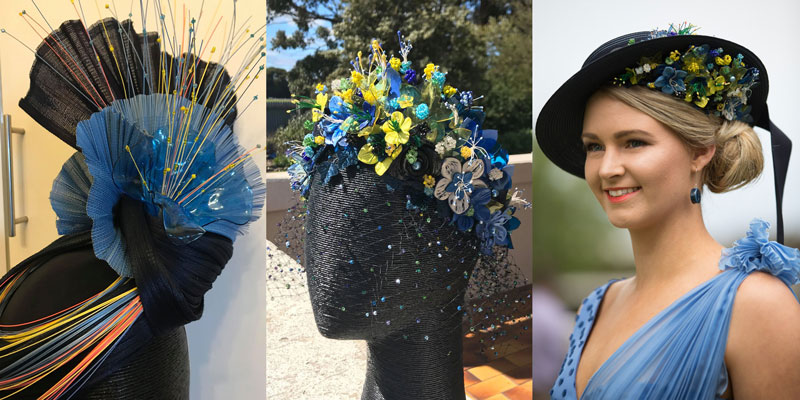 millinery options flowers floral blue boater hat