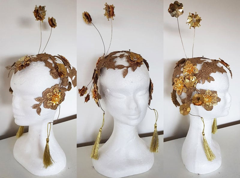 self made gold fascinator helmet