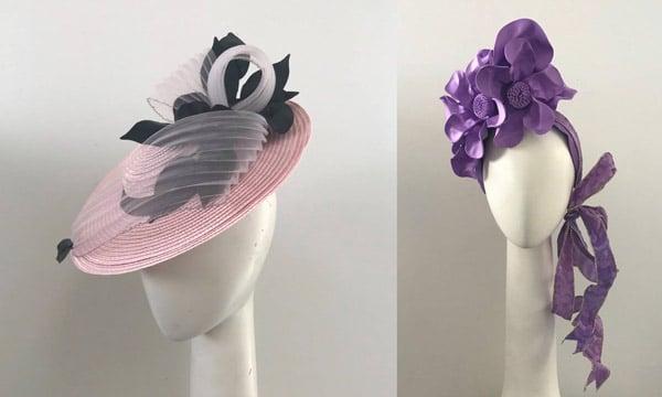 pink purple boater freeform headpiece