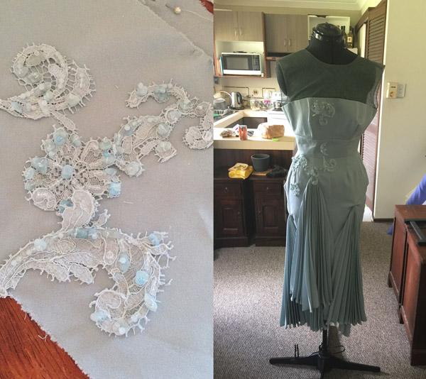 blue dress, blue lace sewing designer