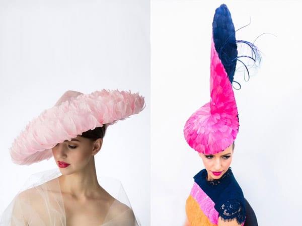 pink feather bold feminine fascinator headpiece