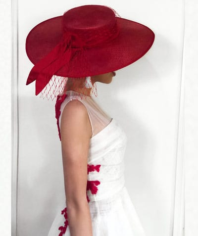 red wide brim hat from Millinery Market, judging Emerald 100 Race day, racewear, trends, dress, outfit, racing fashion, Milano Imai, fashion blogger