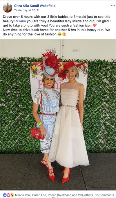 Emerald 100 Race day judging, racewear, trends, dress, outfit, racing fashion, Milano Imai, fashion blogger