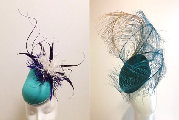 green feather percher hat for races