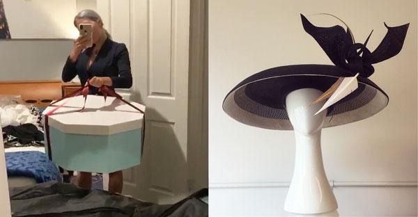 hat box belinda macdonald black white hat