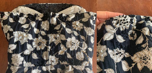 beading embellishment diy black white floral print