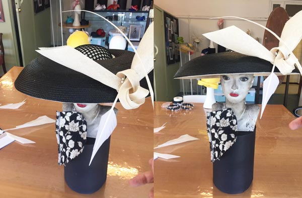 black white hat cream bird white feather diy hat making