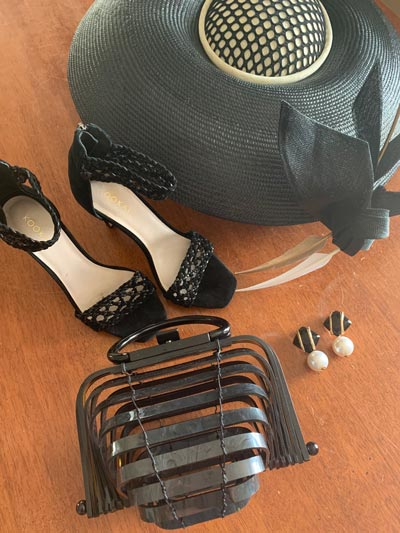 derby day accessories black heels bag clutch earrings