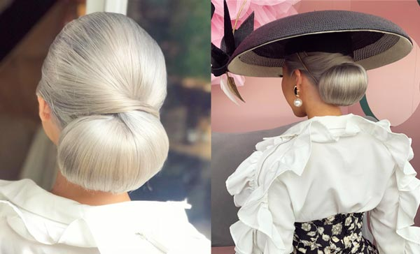 races hairstyles big bun silver hair