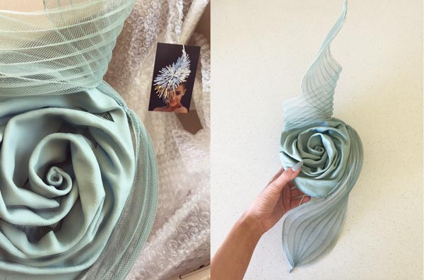ana bella millinery dusty blue rose leather and pleated crinoline swirls