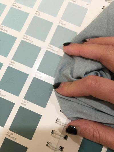 matching paint colour to dress colour using colour chart