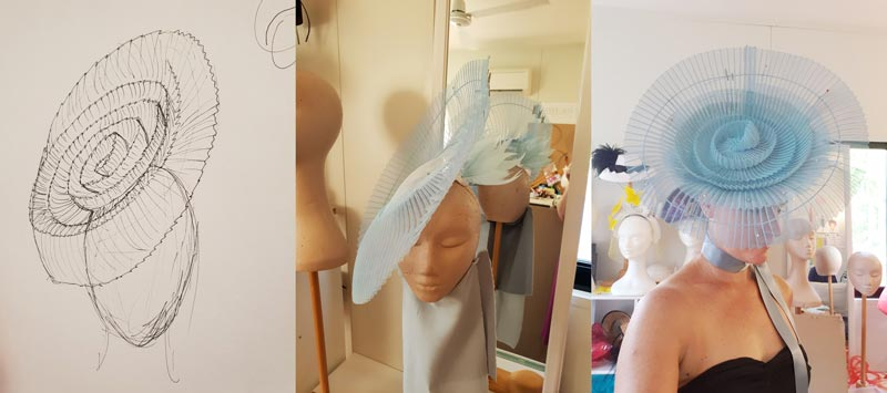 blue pleated fascinator millinery