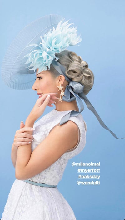 white dress blue millinery crinoline milano imai