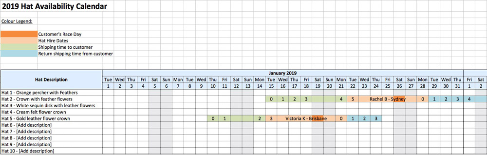 hat millinery booking calendar tracking excel sheet