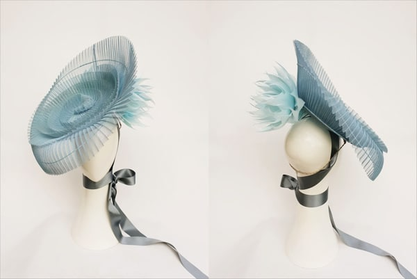 oaks day blue crinoline hat peacock millinery