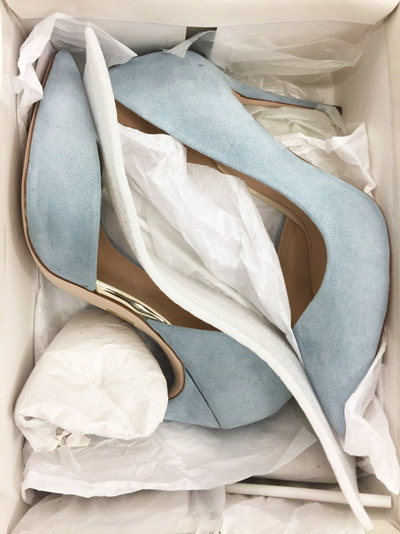 dusty blue high heels in box