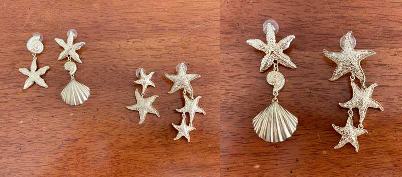 sea theme starfish shell gold earrings