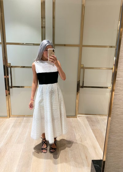 white and black alex perry dress from myer