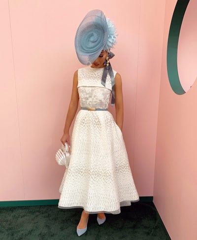 white oaks day dress with blue peacock millinery hat