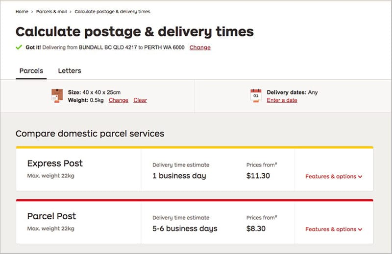 Express post vs parcel post for shipping millinery