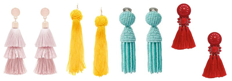 tassel earrings pink yellow blue red