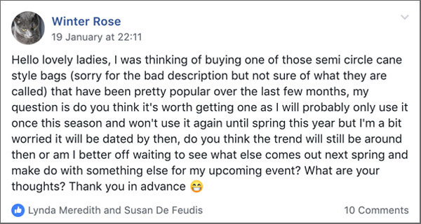 Facebook group question about accessory trends