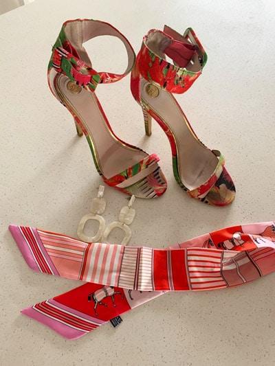 heels shoes earrings twilly scarf