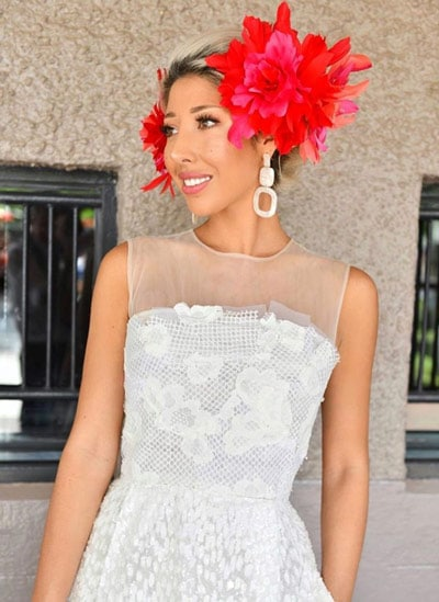milano imai girls day out red feather fascinator white dress