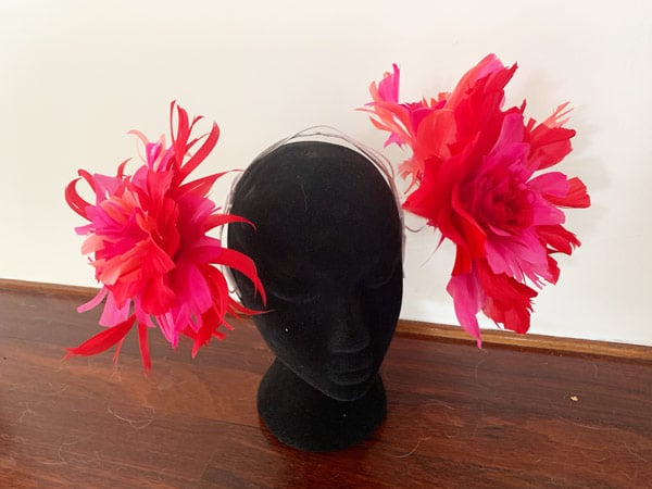 pink coral red feather headpiece