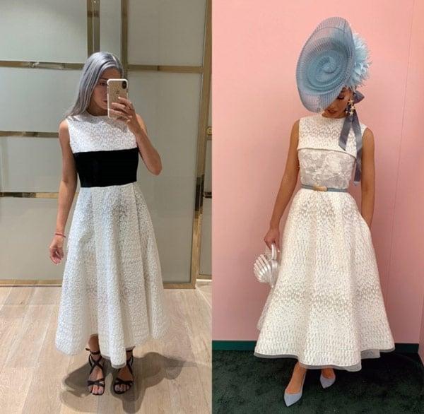 milano imai oaks day outfit white dress blue hat