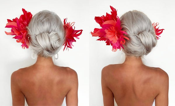 racing fashion hairstyle with headpiece fascinator