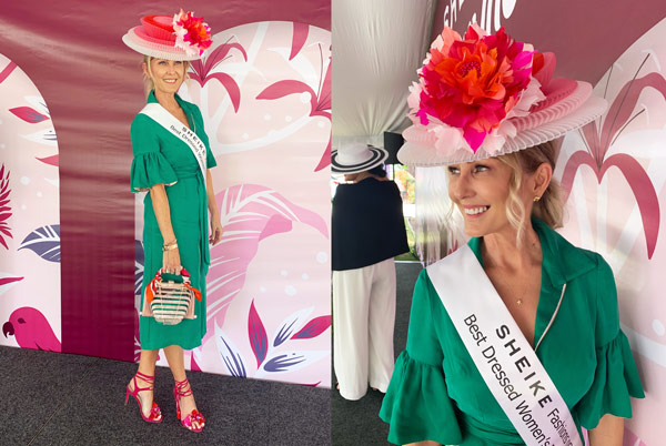 Amanda Maccor green dress pink hat winner