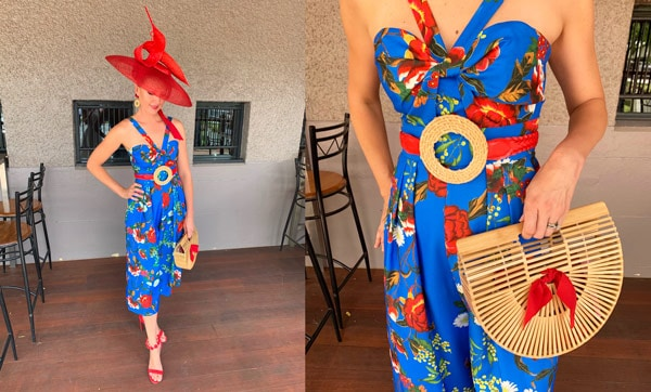 blue race dress red millinery hat bamboo clutch