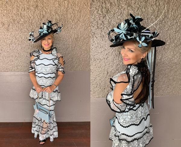 frills black white light blue sheer race dress