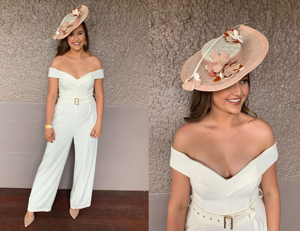 pant suit white race day girls day out