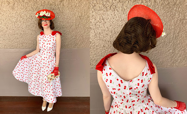 red cherry print race dress with red fascinator