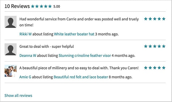 review system 5 stars caren lee millinery
