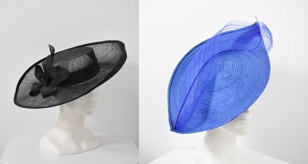 black wide brim blue headpiece
