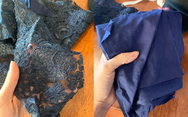 navy lace and silk