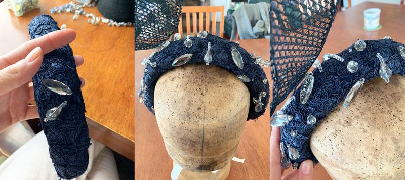 beading embellishing a hat headband