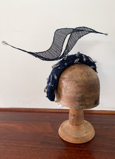 embellished millinery navy headband crown