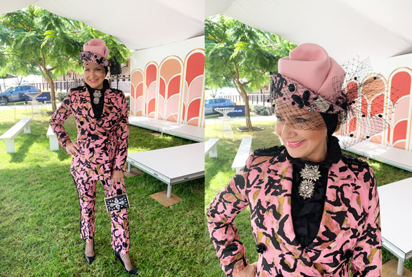 pink and black leopard print suit for race day