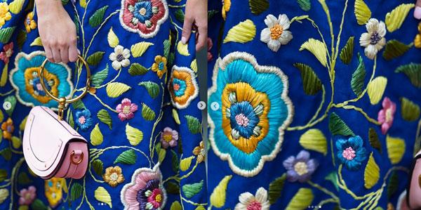 Grandma's vintage skirt with raffia embellished flowers