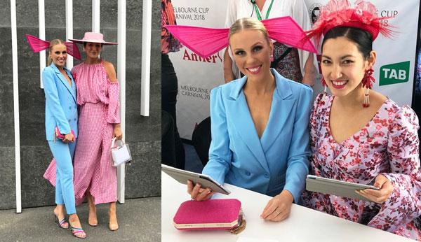 cystal kimber 2018 flemington spring carnival powder blue suit pink bow headpiece