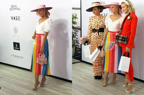 rainbow coloured skirt stripes stephanie spencer pink boater