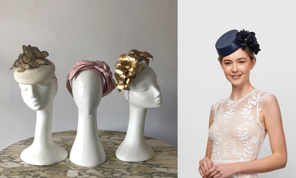 millinery hats gold navy pink